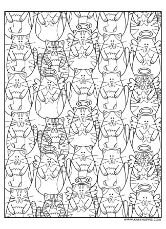 Christmas Cats free adult coloring page to download and color