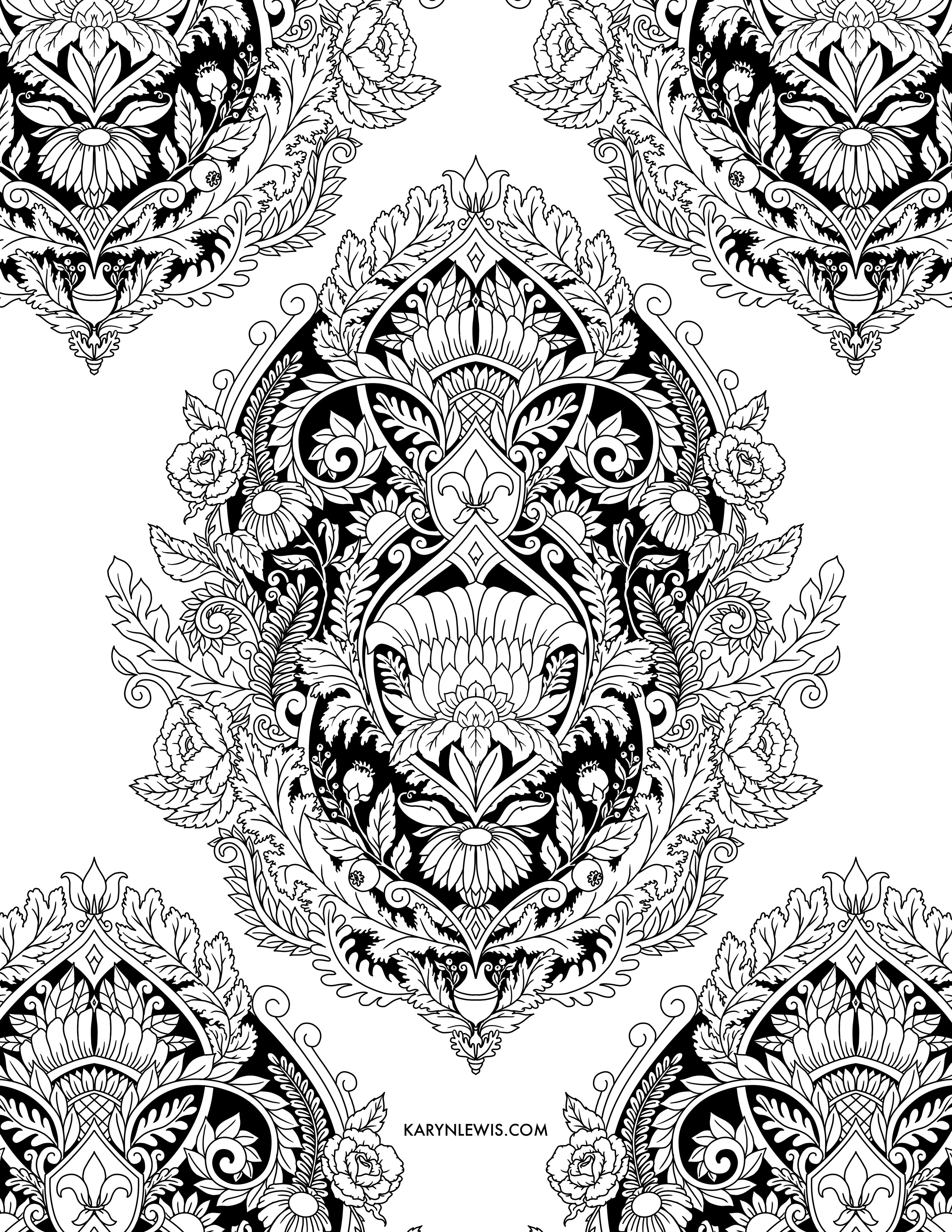 Damask Pattern Free Adult Coloring Page by Karyn Lewis Illustration