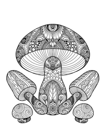 Mushroom Group Printable Coloring Page for Adults