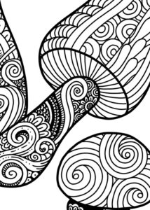 Mushroom Group Coloring Page for Adults - Detail 1