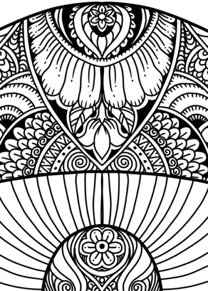 Mushroom Group Adult Coloring Page - Detail 2