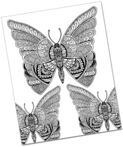 Beautiful Butterfly Doodle Art Coloring Page
