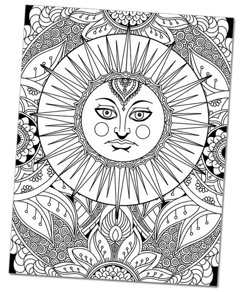 Sun Goddess Doodle Art Coloring Page