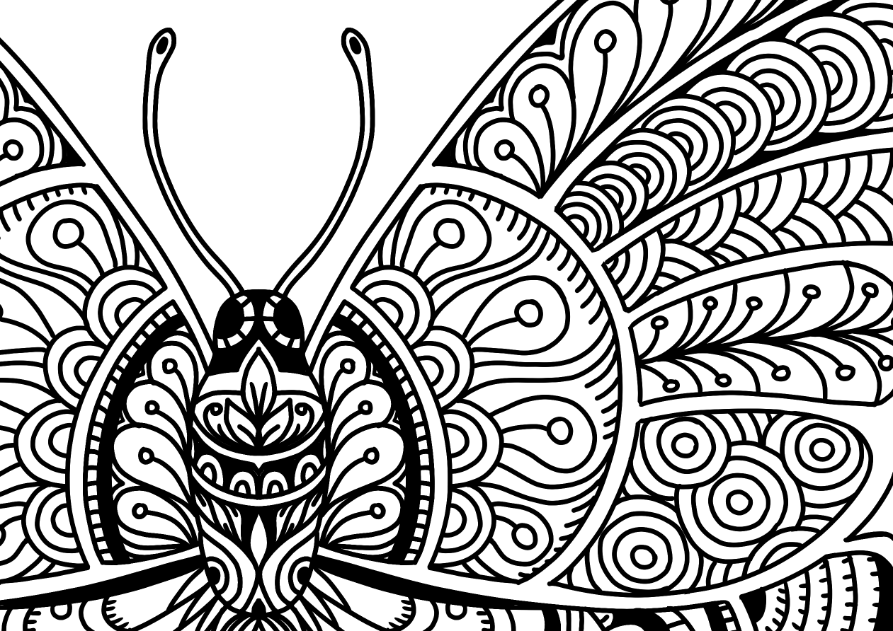 Beautiful Butterflies Coloring Page Detail 2