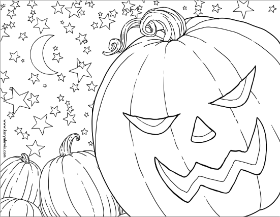 Free Pumpkin Patch Halloween Coloring Sheet for Download