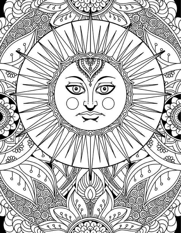 Sun Goddess Doodle Art Adult Coloring Page