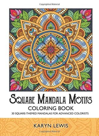Square Mandala Motifs Coloring Book
