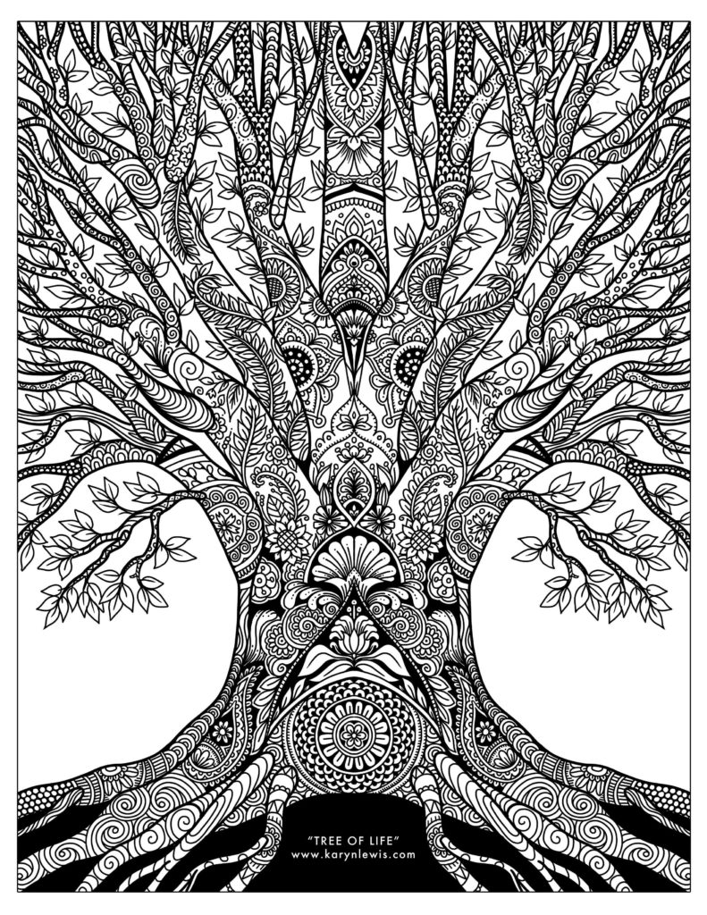 quot Tree of Life quot Doodle Art Free Adult Coloring Page Karyn Lewis Illustration