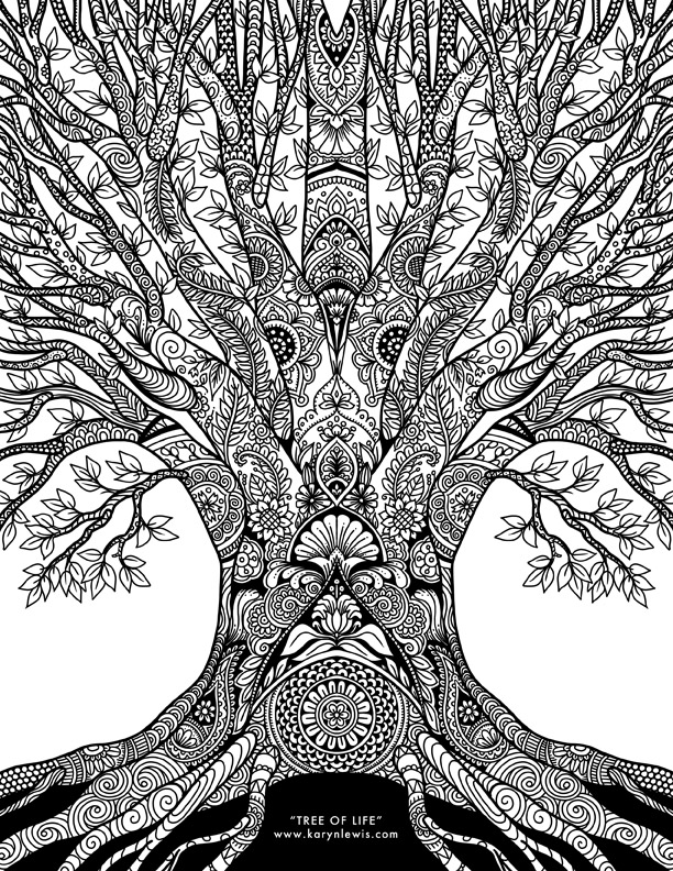 Tree of Life Adult Coloring Page Free Download